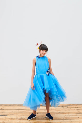 Blue Tuelle Full Length Dress