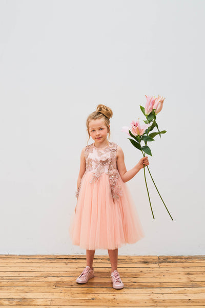 Champagne Dress with Flower Embroidery