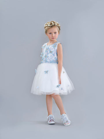 White and Blue Butterfly Dress