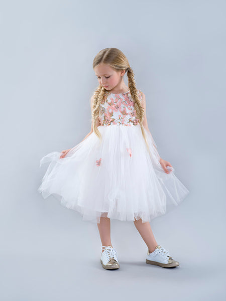 White and Pink Butterfly Dress with Tuelle Skirt