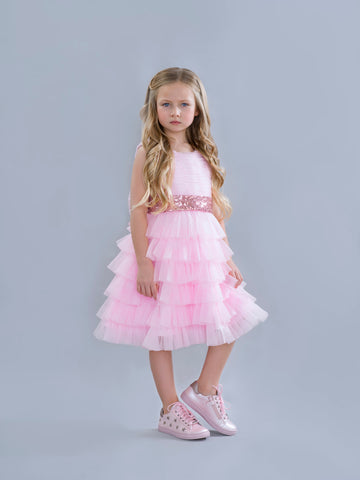 Pink Tuelle Dress with Sequin Waist