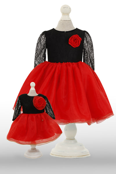 Red and Black Dolly Dress - Front