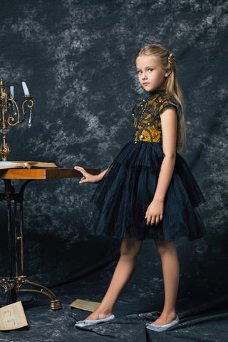 Black & Gold Pearl Princess Dress