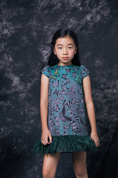 Emerald Brocade Feather Dress