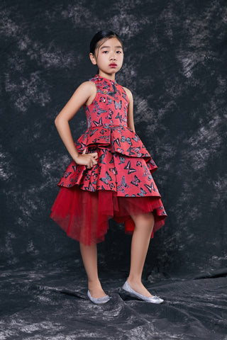 Red Brocade Princess Dress