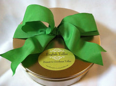 Gold Gourmet Gift Tin  with NEW Holiday Peacock Ribbon