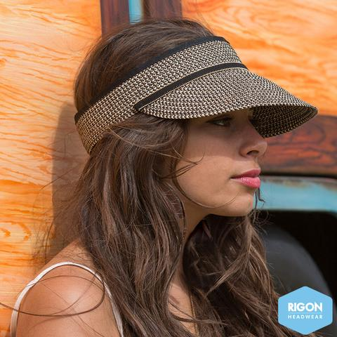 Rigon Headwear - HAT Cosmopolitan Braided Visor Black Tan