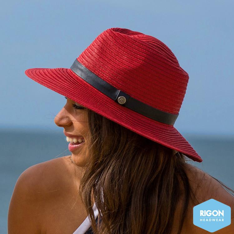 Rigon Headwear - HAT Marina Coloured Fedora Ruby red