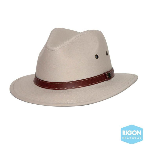 Rigon Headwear - HAT men's Canvas Fedora Natural L/XL