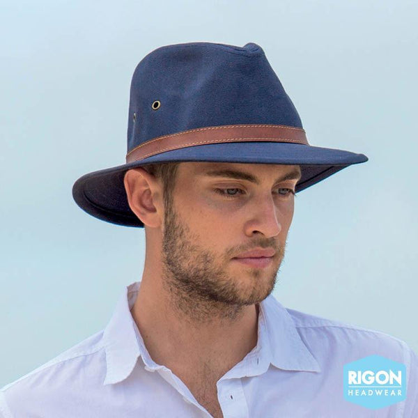 Rigon Headwear - HAT Men's Canvas Fedora Navy M/L