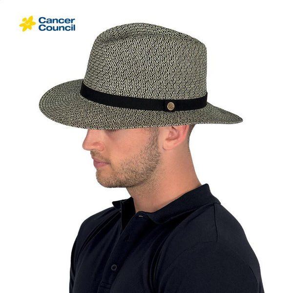 Rigon Headwear - HAT Outback Lightweight Fedora (unisex)Grey Black M/L