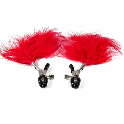 Nipple Clamps - Red Feathers