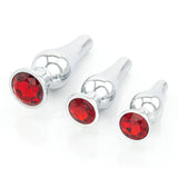 Long Jeweled Chrome Butt Plugs