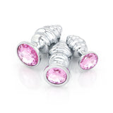 Ribbed Jeweled Chrome Butt Plugs