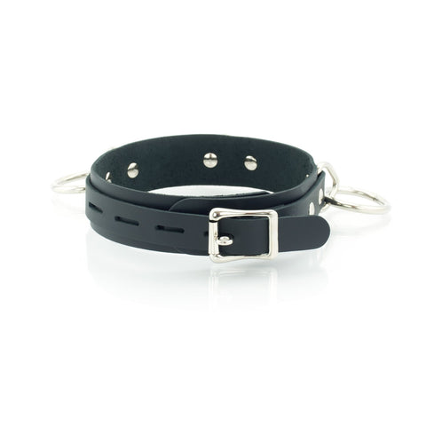 3 Ring Bondage Leather Slave Collar with Locking Buckles