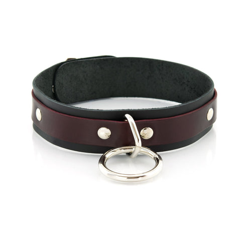 1 Ring Bondage Leather Slave Collar with Locking Buckles