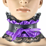 Satin Choker - Bow - Purple Satin