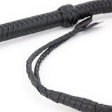 Twin Tail Leather Whip – Black
