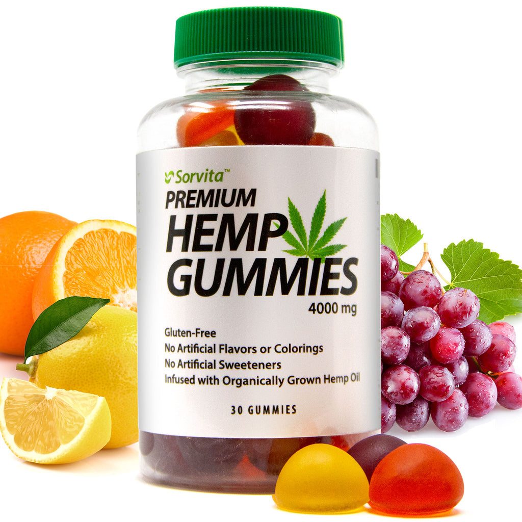 Sorvita Hemp Gummies, Premium Pure Organic Full Spectrum Hemp Oil - Infused Gummy for Pain, Sleep – 4000mg
