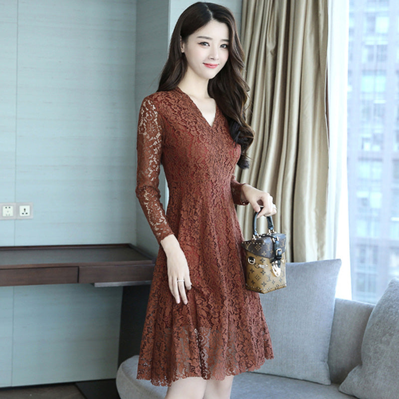43558dd957c4 FP-A-04 2017 New Women Ladies Midi Lace Dress Long Sleeve Korean Gown –  AmoraGift.com