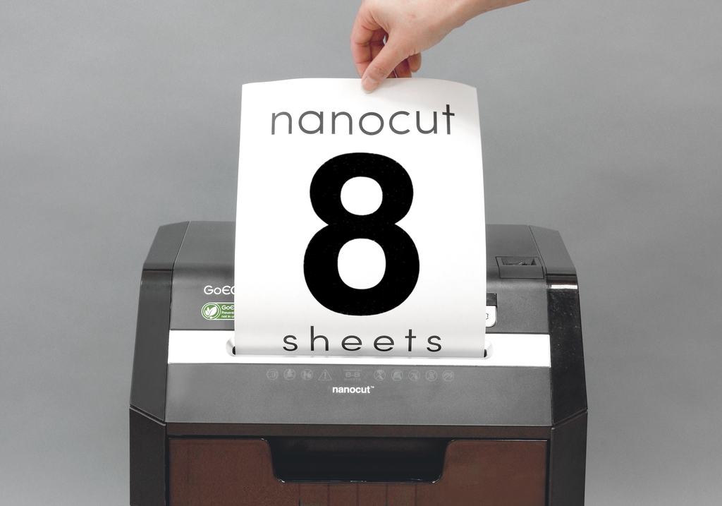 Optimus Edition 8-Sheet Nanocut Commercial Under Desk Paper Shredder - Black GHC85P-BLK