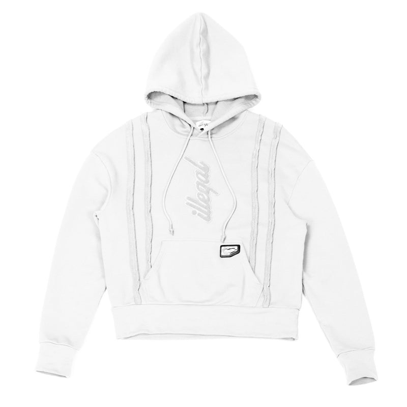 Seamed Cotton Hoodie in White