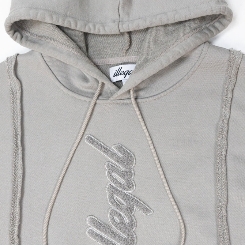 Seamed Cotton Hoodie in Grey