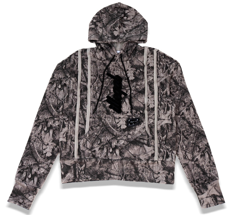 Seamed Cotton Hoodie in Illegal Camo
