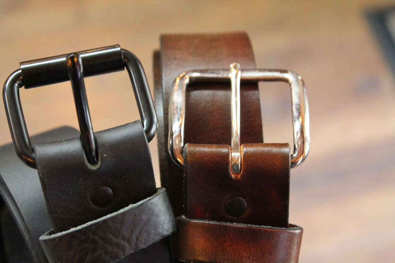 Gunthers Brown and Black Leather Belt Buckles