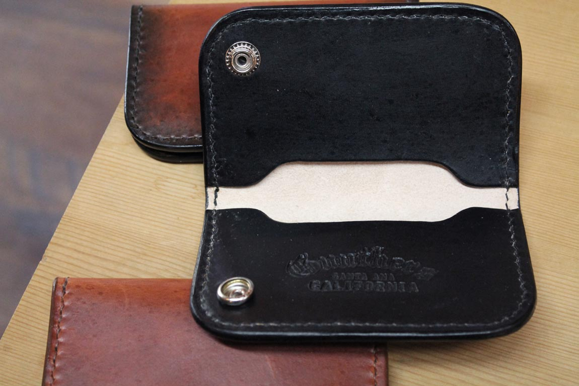 Gunthers Black Leather Snap Wallet Opened