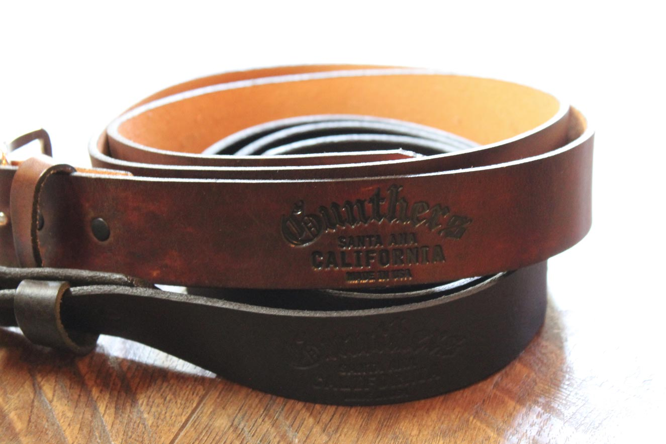 Gunthers Stamped Brown and Black Leather Belts