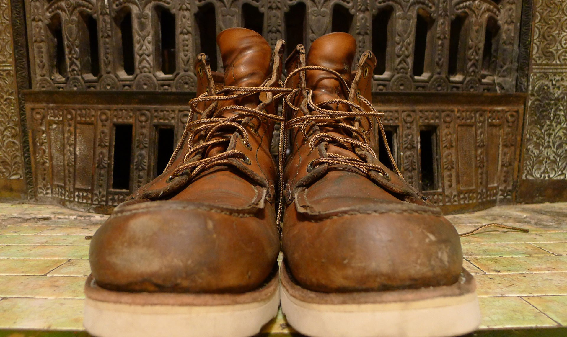 Vintage pair of well used Thorogood boots