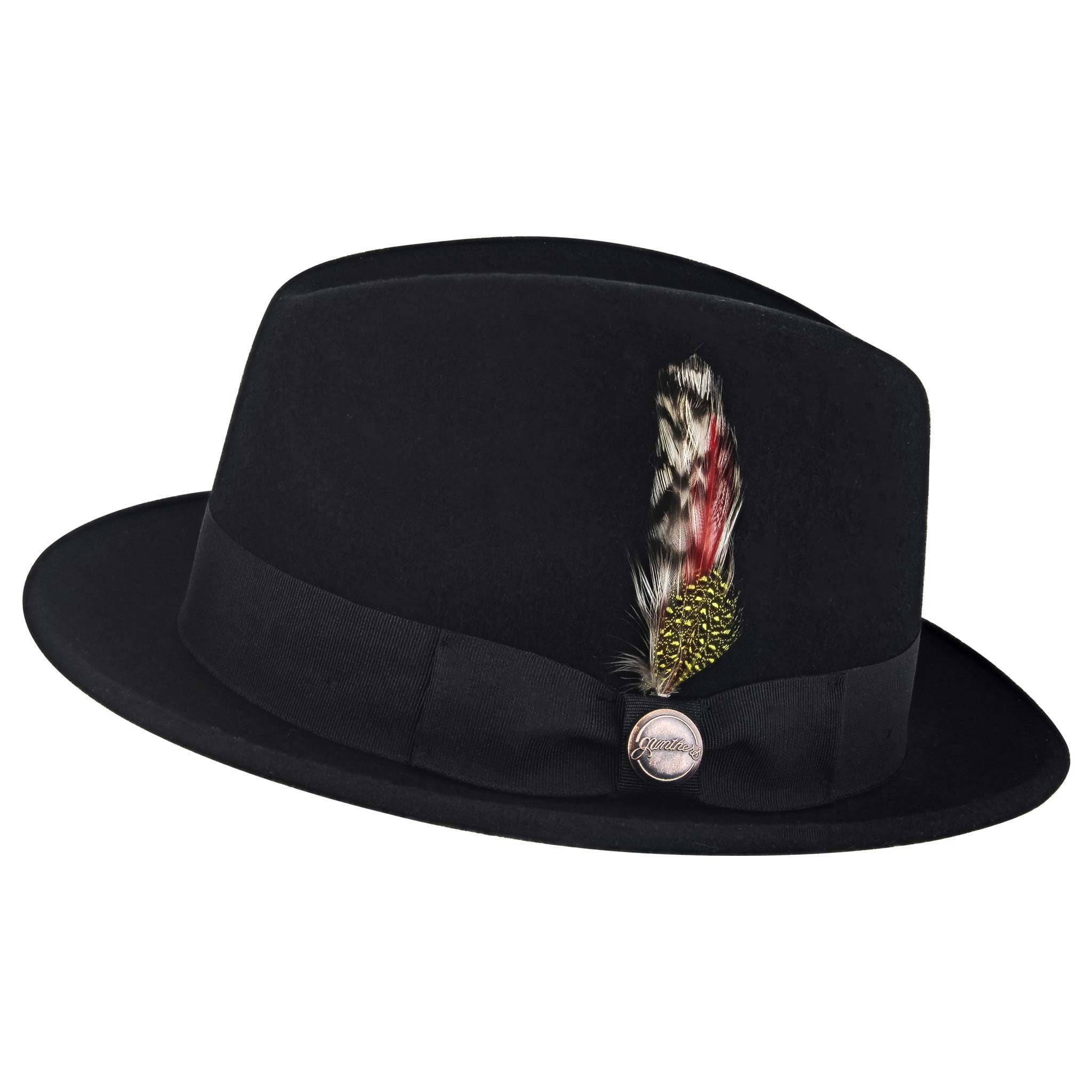 7d00f30b26d ... Hat  Side View of the La Cuatro Fedora Black from Gunthers Santa Ana ...