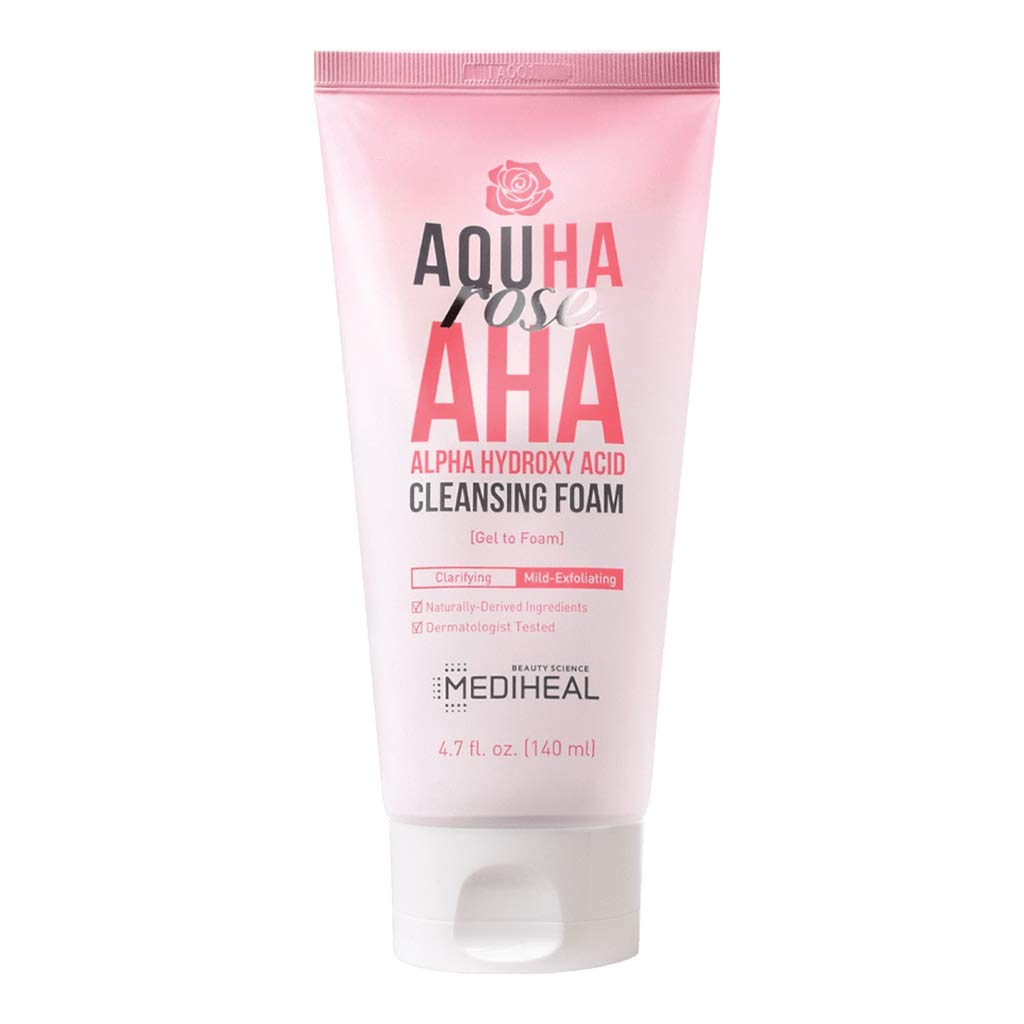 [ MEDIHEAL ] AQUHA Rose AHA Cleansing Foam 140ml (4.7 fl. oz.)