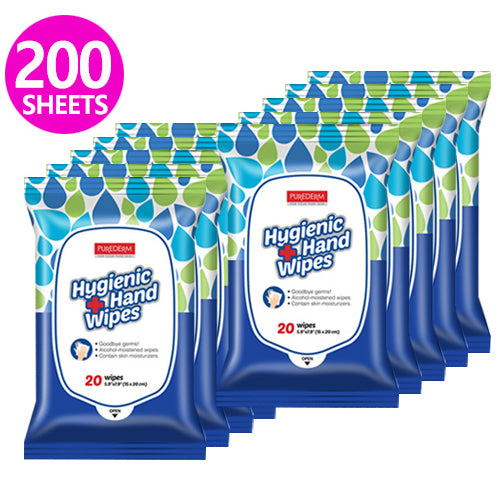 [ PUREDERM ] Hand Sanitizer Wipes (62% Alcohol) 20 Wipes x 10 PACK - KosBeauty