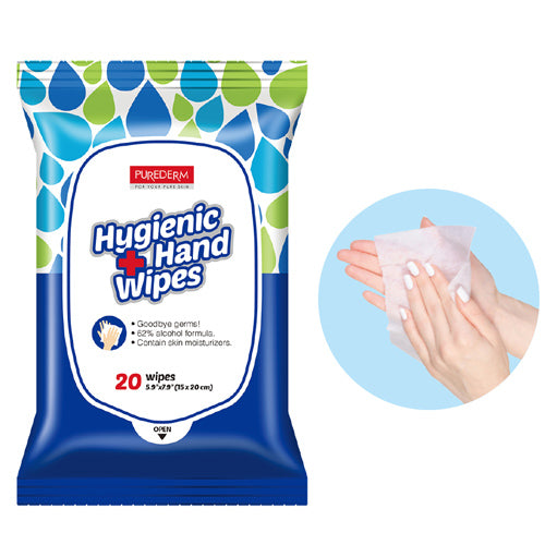 [ PUREDERM ] Hand Sanitizer Wipes  (62% Alcohol ) 20 Sheets x 5 PACK - KosBeauty