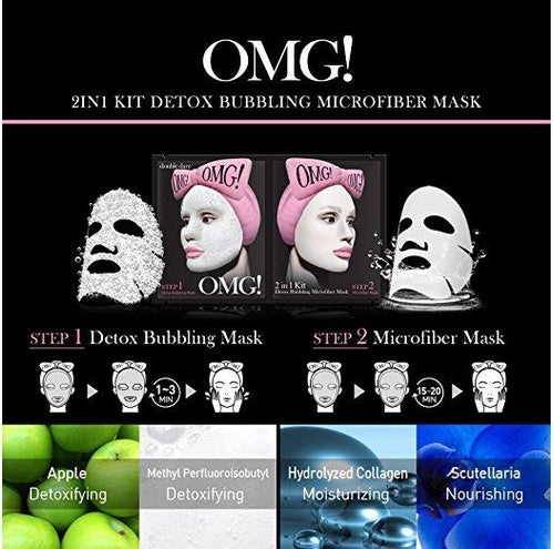 [ DOUBLE DARE ] OMG! 2in1 Kit Detox Bubbling Microfiber Mask-Detoxifying and Moisturizing with Carbonated Bubbles (Pack of 3) - KosBeauty
