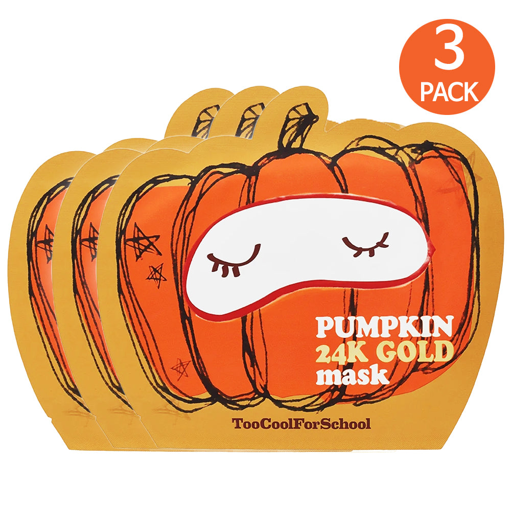 [ Too Cool For School ] (3 Packs) Pumpkin 24K Gold Mask