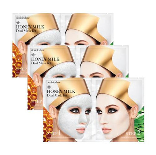 [ DOUBLE DARE ] Honey Milk Dual Mask Kit x 3 Sheets - KosBeauty