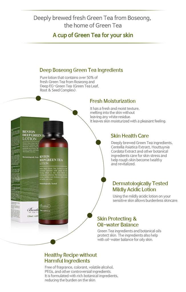 [ BENTON ] Deep Green Tea Lotion 120ml - KosBeauty