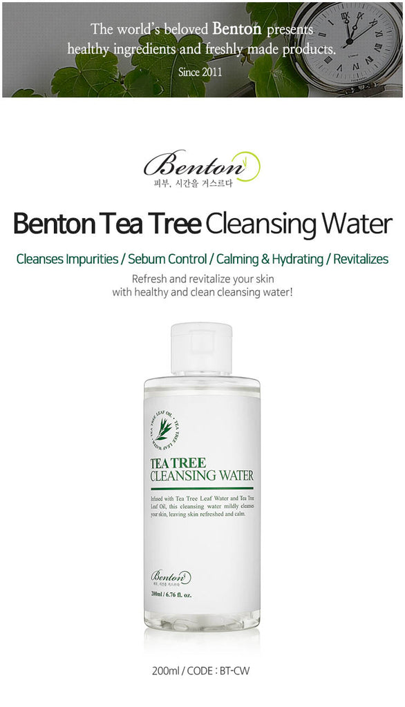 [ BENTON ] Tea Tree Cleansing Water 200ml - KosBeauty