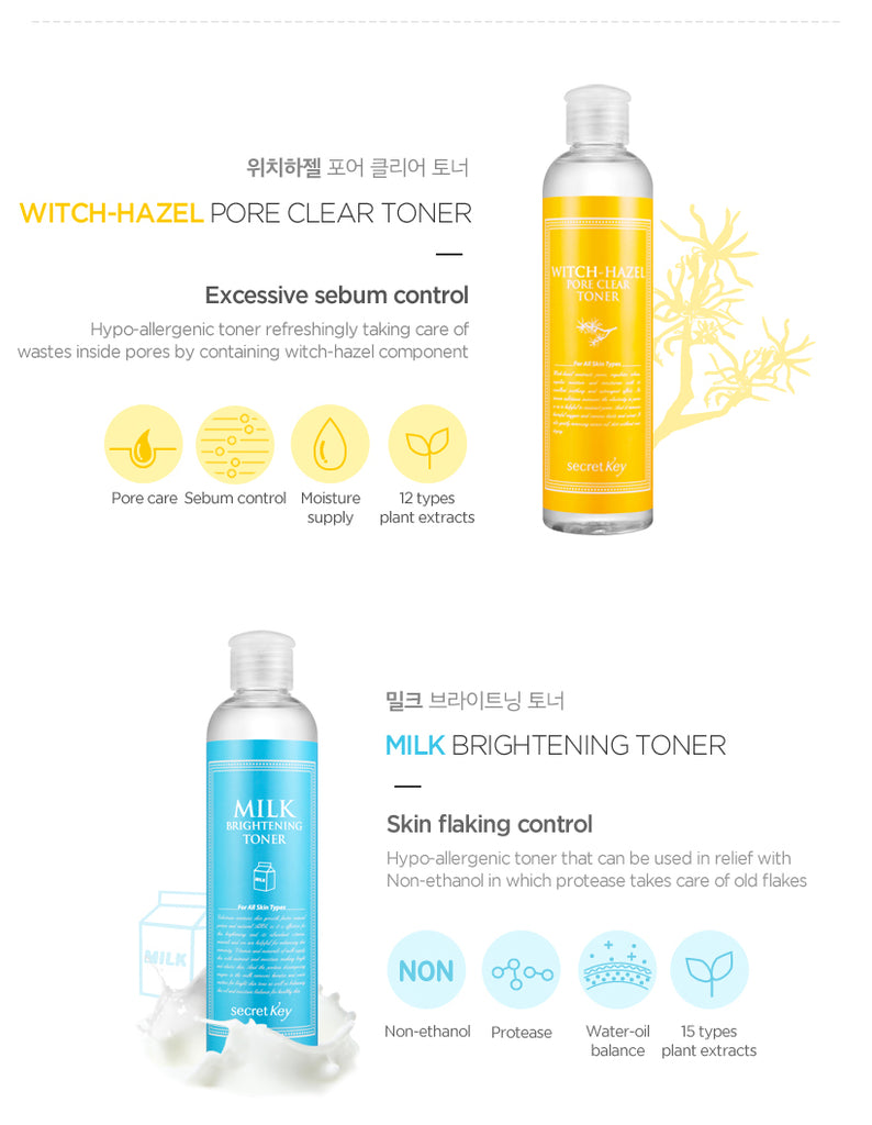 [ Secret Key ] Skin Refreshing Nature Toner 248 ml 5 Types - KosBeauty