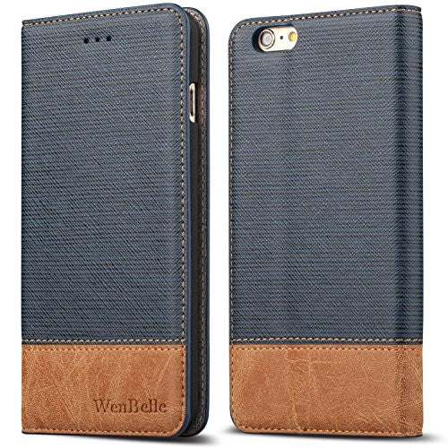 "iPhone 6/6s 4.7"" Case,WenBelle Blazers Series,Stand Feature,Double Layer Shock Absorbing Premium Soft PU Color matching Leather Wallet Cover Flip Cases For apple iPhone 6 6s 4.7 inch Vitality Grey"
