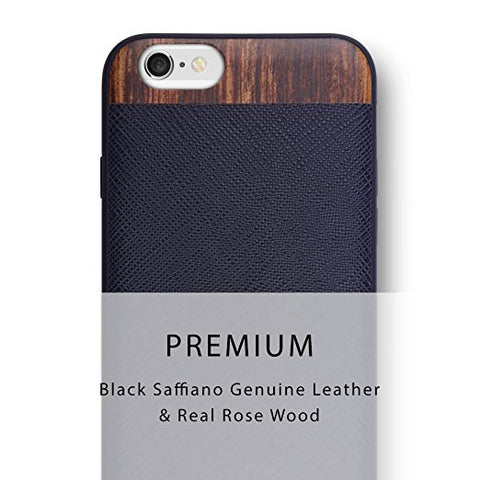 iPhone 6S / iPhone 6 iATO Vesco Black Saffiano Genuine Leather & Real Rose Wood Case Wooden Cover for Apple iPhone 6S / iPhone 6