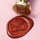 Envelope with heart seal wax stamp, sealing stamp