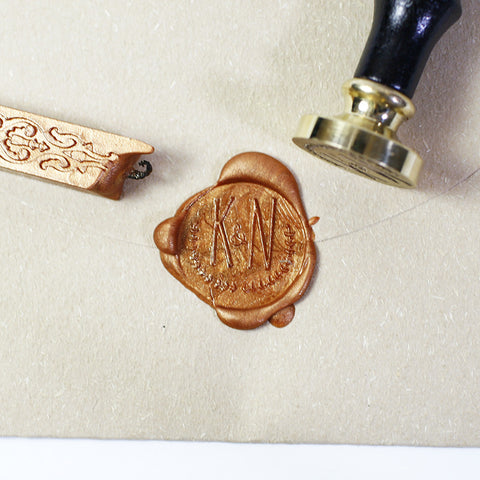 Custom Wax seal stamp, Olive branch wreath Initial