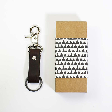 Leather Key Fob-Dark Brown
