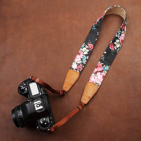 Camera Neck strap, fabric neck strap, Flower pattern