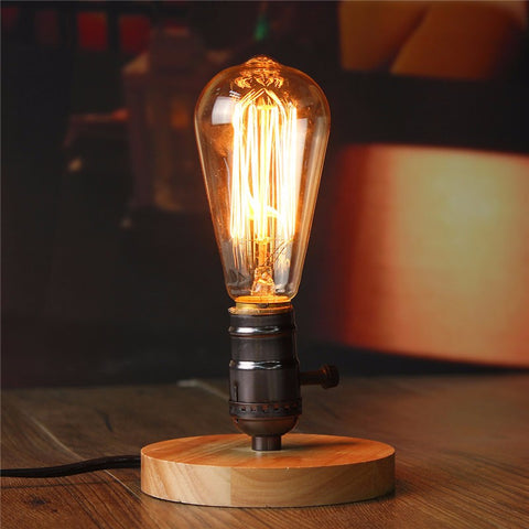 Top Quality E27 Vintage Industrial Retro Style Table Edison Light Bulb Bedside Desk Wood Socket Lamp Dimmable AC110-220V