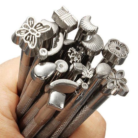 20pcs/set DIY Leather Working Saddle Making Tools Set Carving Leather Craft Stamps Set Craft